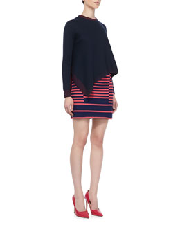 Thakoon Addition Asymmetric Drape-Front Pullover and Shifted-Stripe Mini Skirt