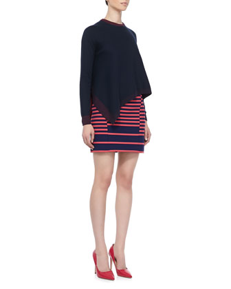 Asymmetric Drape-Front Pullover and Shifted-Stripe Mini Skirt