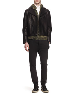 Acne Studios Gibson Leather Moto Jacket, Wilfred Camo-Print Zip Hoodie, Woven-Stretch Button-Down Shirt & Fred Main Sweatpants