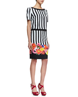 Trina Turk Clio Striped Short-Sleeve Top & Botany Floral Striped Skirt