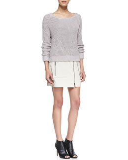 Trina Turk Artesia Boat-Neck Sweater & Kristol Leather Front-Zip Skirt