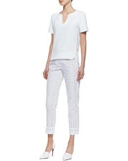 Trina Turk Pearle Short-Sleeve Top & Lenore Eyelet Cropped-Ankle Pants