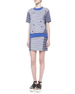 Thakoon Addition Striped Knit-Trim Sweatshirt & Two-Tone Striped Pencil Skirt
