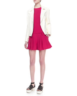 Thakoon Addition Long Leather Motorcycle Jacket, Layered Sleeveless Crepe Top & Wide-Leg Pleated Crepe Shorts