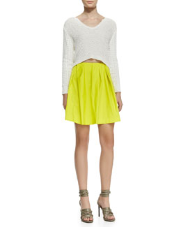 Thakoon Addition Cropped Textured Knit Pullover & Pleated Neon Tulle Skirt