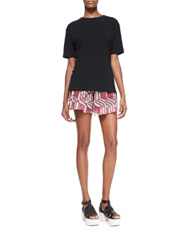 Thakoon Addition Cross-Back Loose Tee & Pleated Wide-Leg Lace-Print Shorts