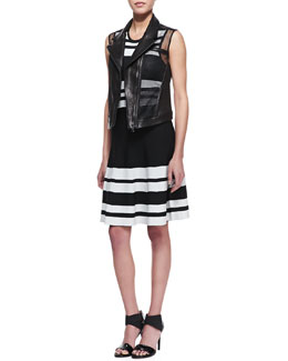 Ohne Titel Mesh-Inset Leather Vest & Sleeveless Bold Stripe Dress
