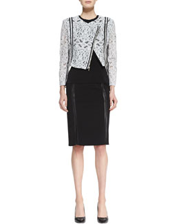 Nha Khanh Colletta Embroidered Lace Jacket, Savie Sleeveless Crepe Top & Raven Pencil Skirt