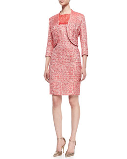 Kay Unger New York Cutaway Hem 3/4-Sleeve Jacket & Sleeveless Lace Top Sheath Dress