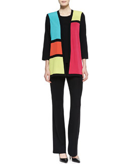 Misook Rosalie 3/4-Sleeve Colorblock Cardigan, Knit Tank & Boot-Cut Knit Pants