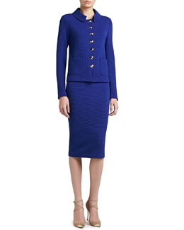 St. John Collection Box Stitch Knit Shirt Collar Jacket & Long Pencil Skirt