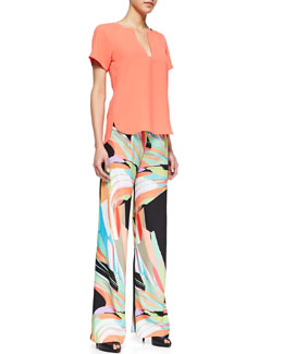 Trina Turk Pearle Short-Sleeve Top & Palazzo Full-Length Pants
