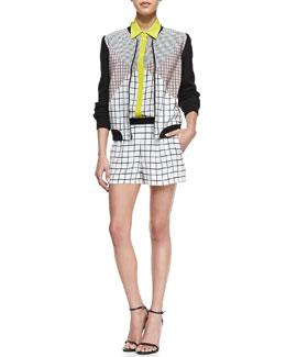 Trina Turk Clover Checkered-Print Cap-Sleeve Romper & Adah Long-Sleeve Jacket