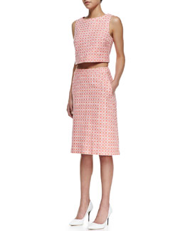Trina Turk Priscilla Checkered-Print Cropped Top & Scarlet A-Line Skirt