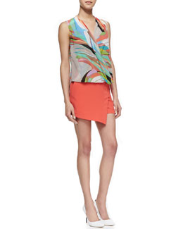 Trina Turk Muriel Printed Surplice Top & Ceres Stretch-Crepe Skort
