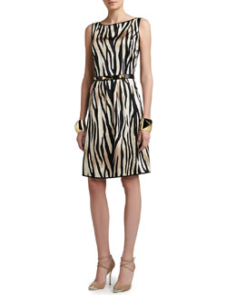 St. John Collection Tigre Print Stretch Silk Charmeuse Dress, Pyramid Shape Cuff & Narrow Leather Waist Belt