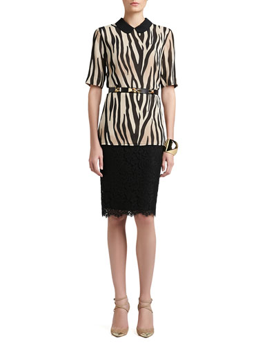 St. John Collection Tigre Print Silk Georgette Elbow Sleeve Blouse, Graphic Lace Pencil Skirt, Pyramid Cuff & Leather Waist Belt