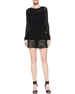 Vince Long-Sleeve Mesh Sweater & Lamb Leather Shorts