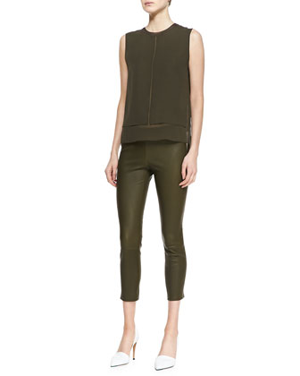 Rayon/Silk Layered Top & Cropped Skinny Leather Leggings
