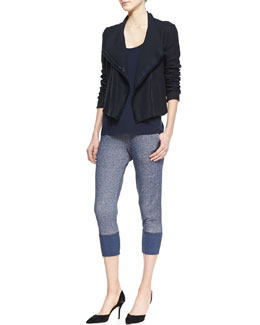Vince Fringe-Trim Scuba Jacket, Draped Scoop-Neck Tank & Ribbed-Cuff Sweater Pants