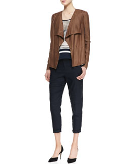 Vince Draped Snap Leather Jacket, Printed Slit-Hem Tank & Cropped Linen-Blend Cargo Pants