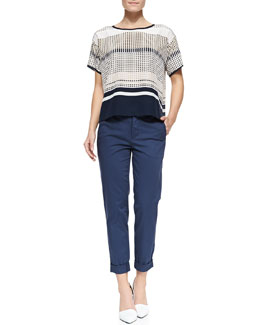 Vince Short-Sleeve Printed Silk Tee & Cuffed Twill Boyfriend Trousers