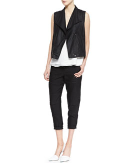 Vince Paper Leather Zip Vest, Linen/Silk Layered Tank & Slim Cropped Cargo Pants