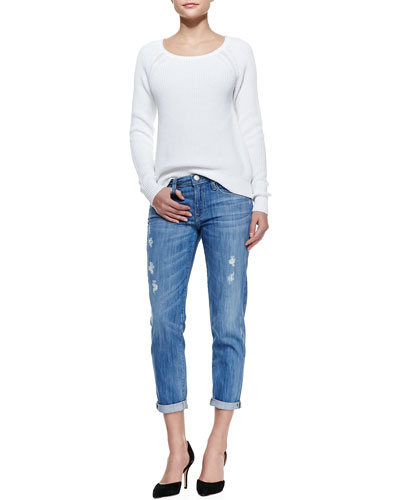 Vince Raglan-Sleeve Knit Sweater & Mason Relaxed Distressed Cuffed Jeans