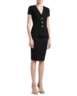 St. John Collection Diamond Dash Knit Short Sleeved Jacket & Skirt with Back Slit