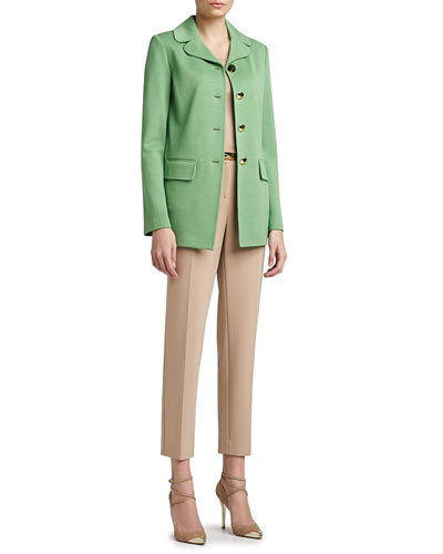 St. John Collection Milano Knit Full Cut Topper, Contour Tank, Crepe Marocain Cropped Emma Pants & Narrow Leather Waist Belt