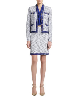 St. John Collection Degrade Honeycomb Knit Jacket, A-Line Mod Skirt & Stretch Silk CDC Shell