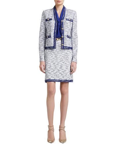 St. John Collection Degrade Honeycomb Knit Jacket, A-Line Mod Skirt & Stretch Silk CDC Shell