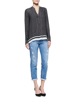 Vince Printed Split-Neck Top & Mason Relaxed Distressed Cuffed Jeans