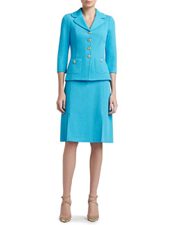 St. John Collection Milano Pique Knit Jacket, A-line Skirt & Scoop Neck Sleeveless Shell