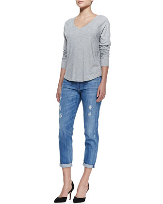 Long-Sleeve V-Neck Tee & Mason Relaxed Distressed Cuffed Jeans