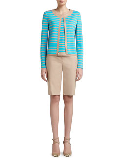 St. John Collection Striped Milano Knit Jewel Neck Jacket, Shell & Doubleweave Stretch Cotton Bermuda Short