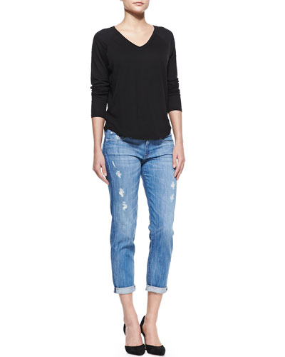 Vince Long-Sleeve V-Neck Tee & Mason Relaxed Distressed Cuffed Jeans