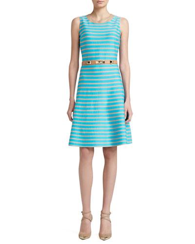 St. John Collection Striped Milano Knit Flounce Hem Dress & Narrow Leather Waist Belt