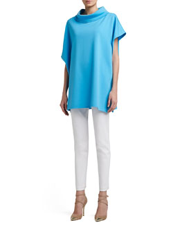 St. John Collection Milano Knit Asymmetrical Poncho, Contour Tank & Soft Stretch Denim Leggings