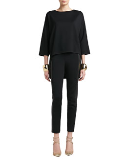 St. John Collection Milano Knit Bateau Neck 3/4 Length Sleeve Tunic, Stretch Milano Knit Slim Ankle Pants & Tribal Pyramid Shape Cuff