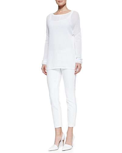 Vince Mesh-Inset Oversize Tee & Dylan Slim Ankle Jeans