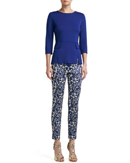 St. John Collection Milano Knit Vented Peplum Top & Metallic Rose Floral Jacquard Knit Slim Ankle Pants
