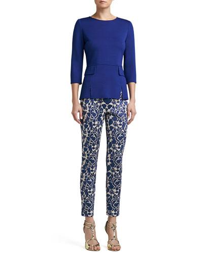 St. John Collection Milano Knit Vented Peplum Top & Metallic Rose Floral Jacquard Knit Slim Ankle Pants