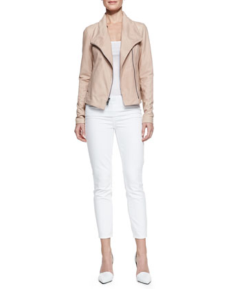 Leather Scuba Shawl-Collar Jacket & Dylan Slim Ankle Jeans
