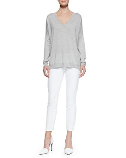 Vince Silk/Cashmere V-Neck Sweater & Dylan Slim Ankle Jeans
