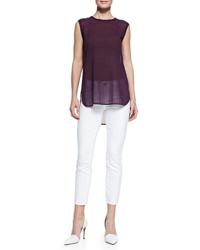 Vince Sleeveless Semisheer Trimmed Top & Dylan Slim Ankle Jeans