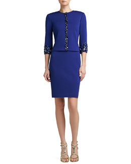 St. John Collection Milano Knit Jewel Neck 3/4 Length Sleeve Jacket & Hand-Beaded Sheath Dress