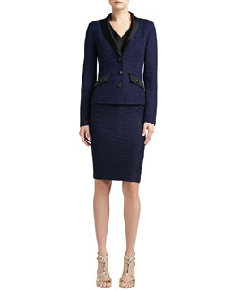 St. John Collection Shimmer Punto Riso Knit Jacket, Pencil Skirt & Liquid Satin V-Neck Shell