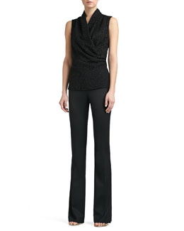 St. John Collection Graphic Lace Sleeveless Wrap Shell & Tropical Wool Narrow Bootleg Annabel Pants