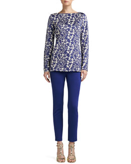 St. John Collection Metallic Rose Floral Jacquard Knit Bateau Neck Tunic & Stretch Milano Knit Alexa Pants
